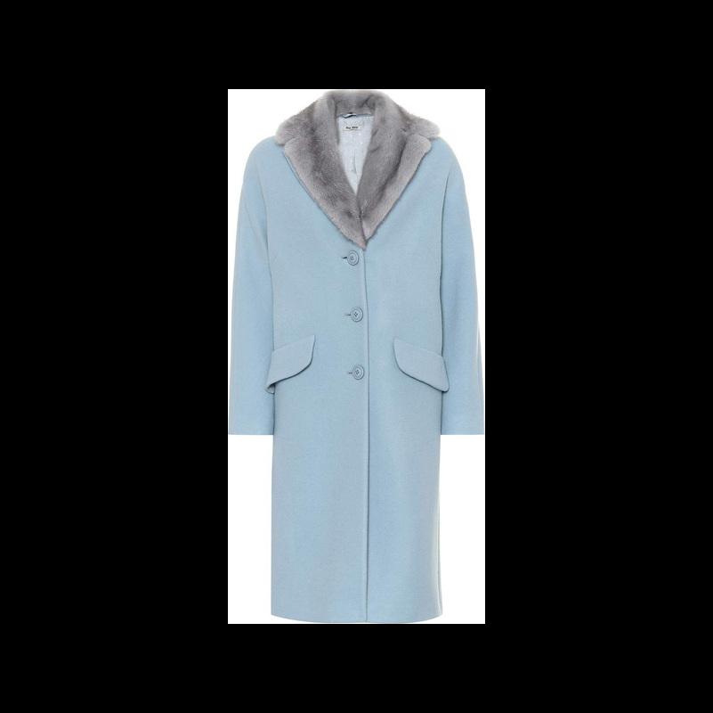 Miu Miu Wool and angora-blend fur-trim coat | Shop it now on LUXED