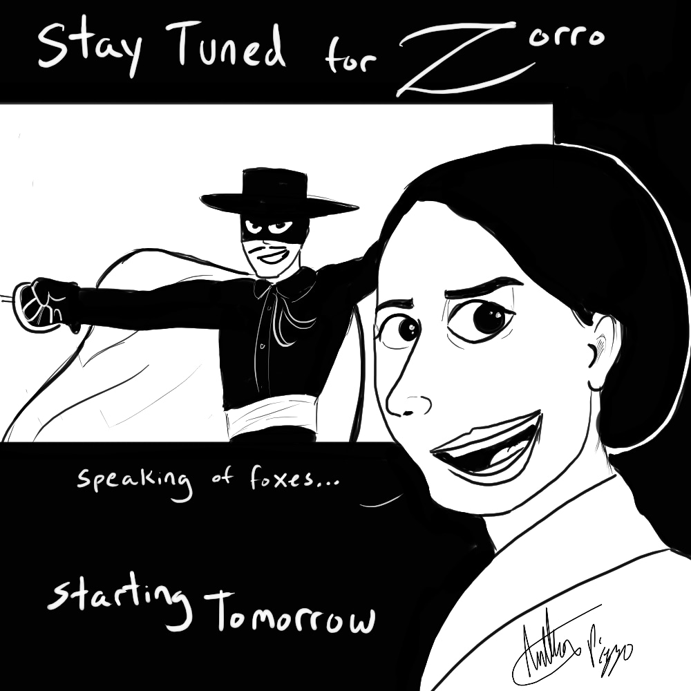 """Fleabag in a movie theater, which is playing Zorro, sword fighting. She turns to the camera and says """"speaking of foxes..."""""""