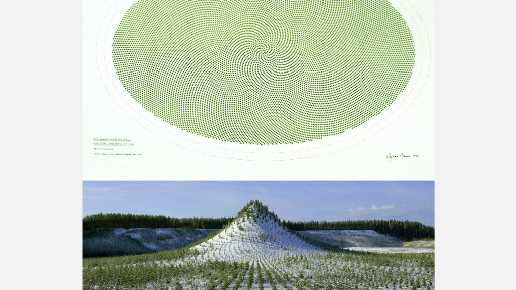 Tree Mountain is an artificial mountain near Ylöjärvi in Finland. Over a period of 4 years 11,000 people planted 11,000 trees in a specifically designed mathematical pattern based on the golden section. The project was conceived by the artist Agnes Denes in 1984.