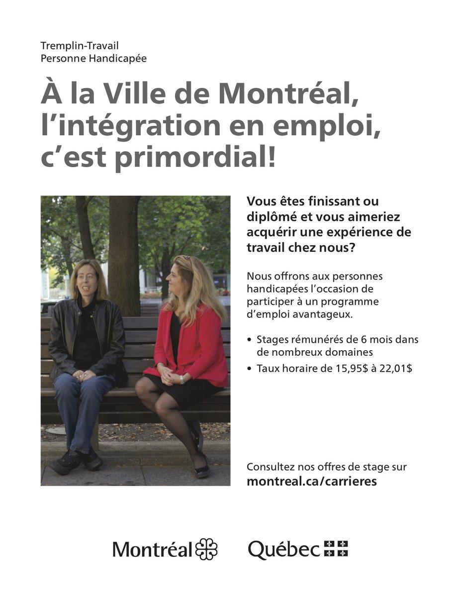Le programme Tremplin-Travail pour personnes handicapées est de retour à la Ville de Montréal. Nous invitons les personnes intéressées à postuler à nous contacter au 514-933-1141. #stages #Montreal #handicap https://t.co/kwzjbc3Gye