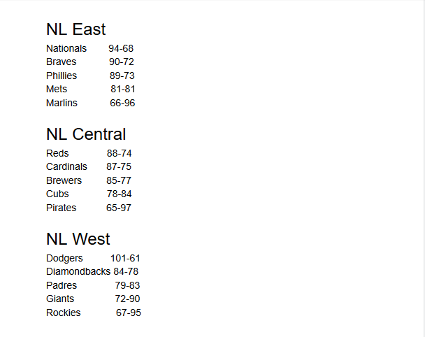 mlb nl central standings 2020