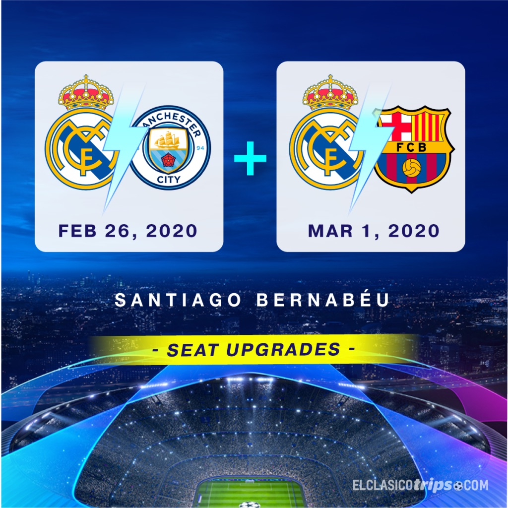 Go to a  #ChampionsLeague game AND  #ElClasico  all in one week!   Trip Package Includes: - Match ticket to both games - Round trip flights - 4 Star Hotel - Guided tours - VIP Transfers  Email info@elclasicotrips.com for more info!