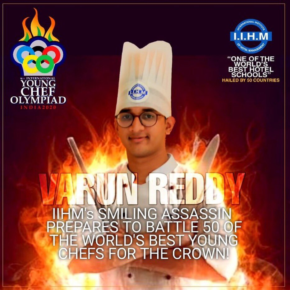 #YCO2020 @IIHMHOTELSCHOOL's smiling assassin prepares for battle.  Varun reddy, our Culinary prodigy, here to dominate the Global kitchen with full power.   days until he fights his way to the golden toque of victory @subornobose  #IIHMBest3Years #battleforthebest #chefslife pic.twitter.com/gTtriOp9ZB