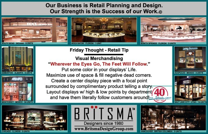 #FridayThought #Merchandising #Tip ●Wherever the Eyes Go, The Feet Will Follow●  -Put some color in your displays! -Maximize use of space & fill negative dead corners. -Create a focal point surrounded by complimentary product telling a story. Place displays to follow customers!<br>http://pic.twitter.com/xXM13LL2pW