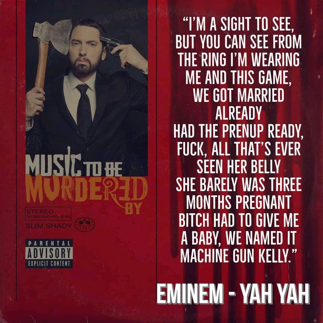 Yo!! Pretty sure nobody saw that coming. @machinegunkelly be wetting the bed over and over again. #eminemyahyah #MusicToBeMurderedBy  . . . . If a Stan is reading this, let's FOLLOW one another so we can discuss bars. #eminemstans #HiphopMusicpic.twitter.com/TXwO68UXoF