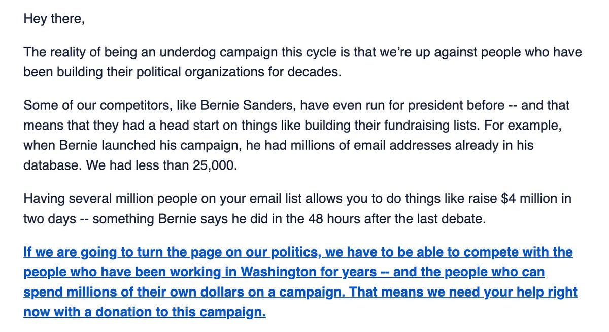 Very interesting Mayor Pete fundraising email portraying Bernie as a Washington insider