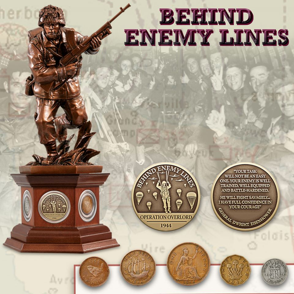 Behind Enemy Lines. An expertly-crafted bronzed sculpture of a British paratrooper, with a set of five genuine coins from 1944.  https://bit.ly/387MxOa  #FlashbackFriday #WarTime #Soldiers #WW1 #Coins #Sculpture #OperationOverlord #Family #LovedOnes #History #Paratrooperpic.twitter.com/0R8Dn6H00u