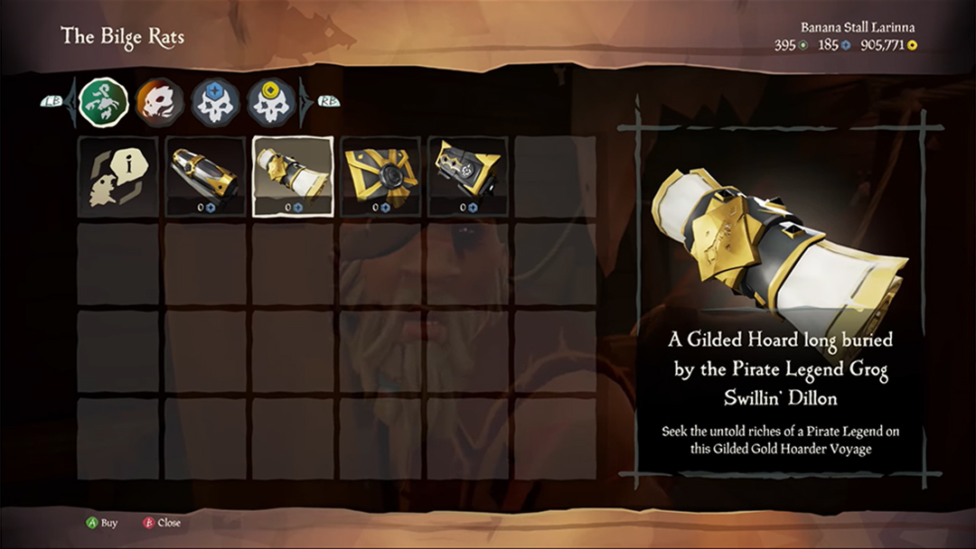 Remember to visit Duke and collect your Gilded Voyage! You can only claim one and Duke doesn't do swapsies or refunds, so choose carefully and sail cautiously...