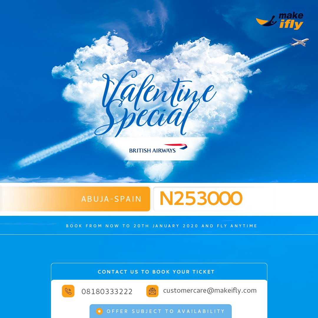 You too can find love.  Explore the breathtaking scenes of nature when you fly Abuja - Spain.  Grab this limited offer for NGN 253,000 on BritishAirways.  Book from 15 - 22 January 2020. Travel between 9 & 16 February 2020.  Contact us on 08180333222for enquiries.  #Valentinepic.twitter.com/5nKsgOoRXh