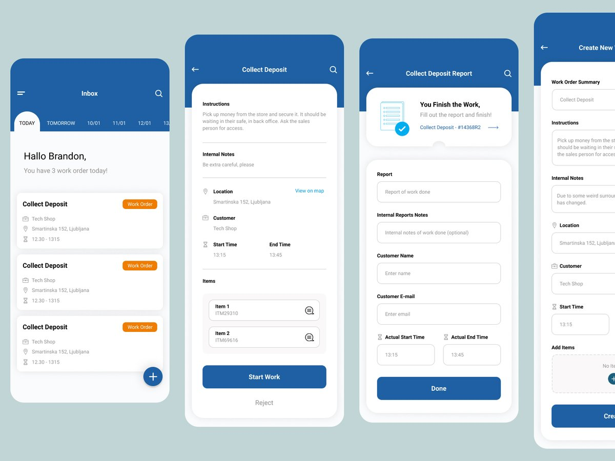 Workorder app - User Interface design.   Hire us: projects@wearebyello.com  #byello #ui #ux #appdesign #graphicdesign #userinterface #userexperience #uiux #app #figmadesign #designinspiration #uiuxdesign #appdesigner #ios #iosdesign #iosapp #figmapic.twitter.com/91dwpW2EGr