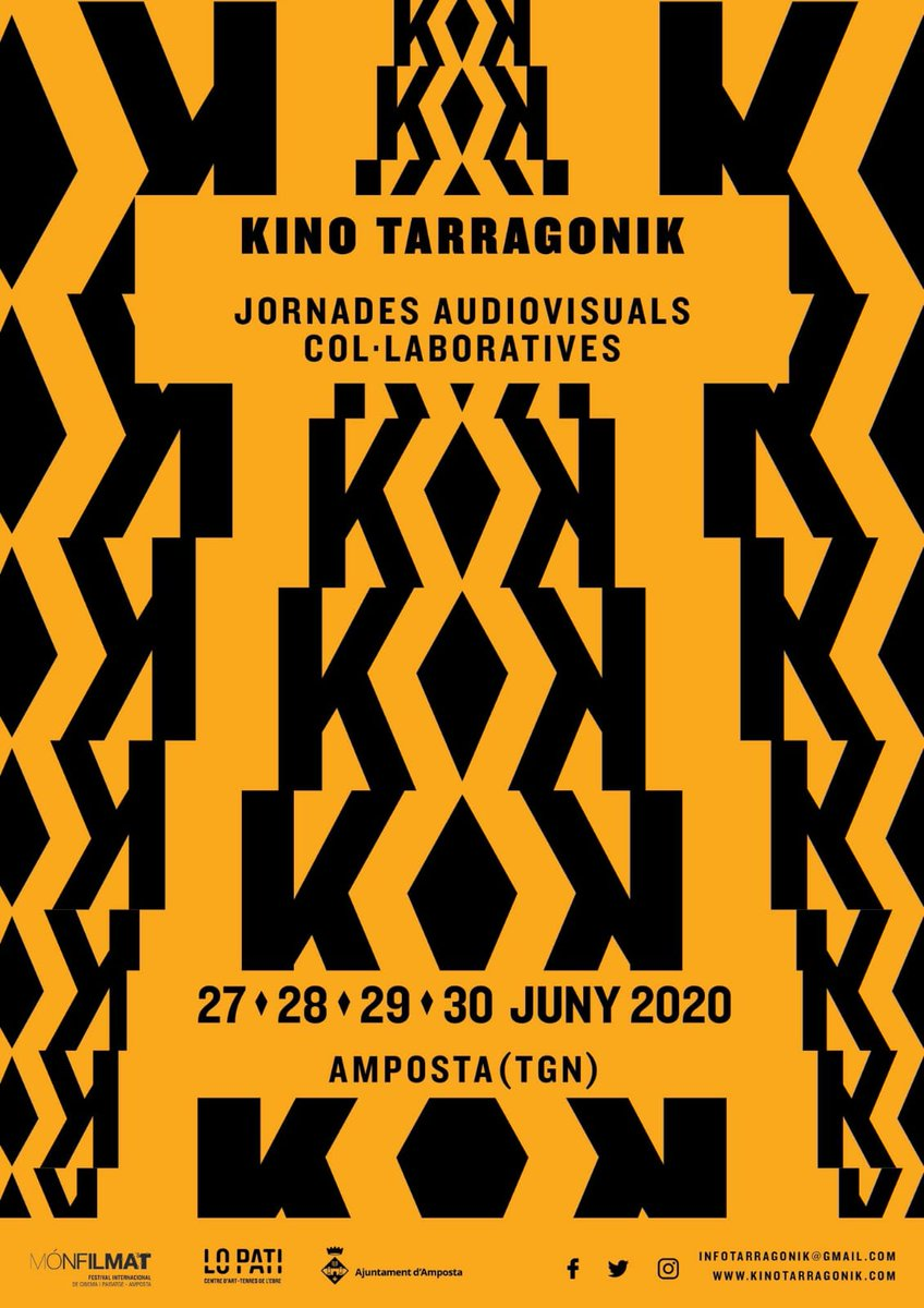 Tomorrow we open our #kinotarragonik2020 registration form! Come and join us in #terresdelebre 27th-30th June #kinokabaret #audiovisuals #shortfilms #curts #cinemapic.twitter.com/ksGzDs4Yi2
