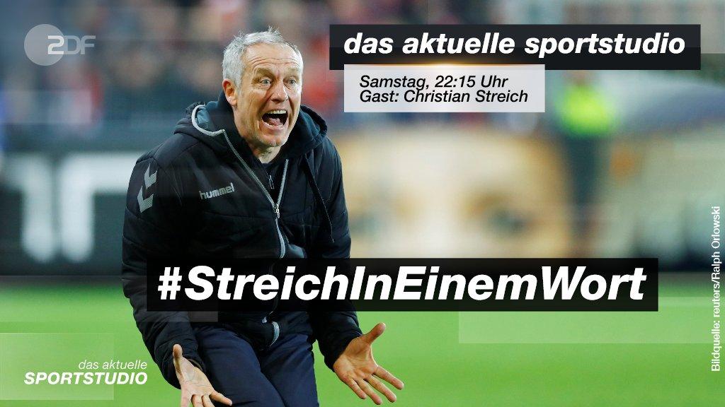 Am Samstag begrüßen wir ab 22:15 Uhr im #sportstudio Christian #Streich. Bitte in einem Wort: Wie charakterisiert ihr den Coach des SC Freiburg? ⚽️ #sportstudio   @scfreiburg