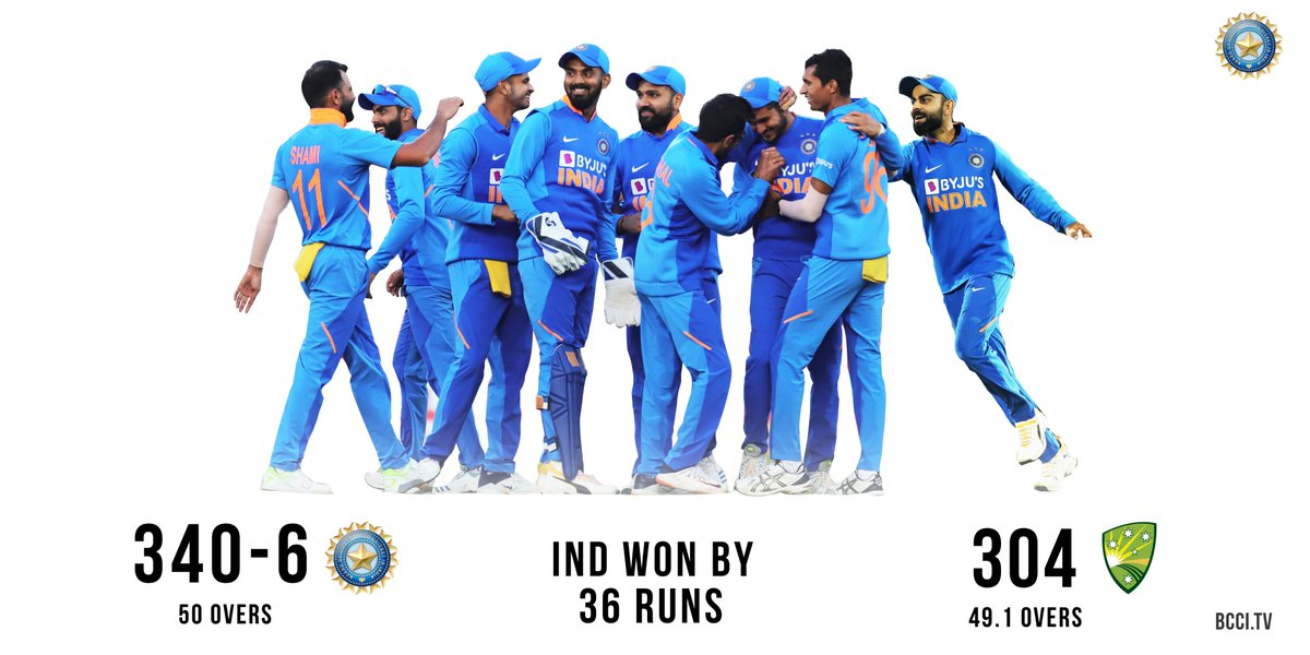 Clinical performance by #TeamIndia to beat Australia by 36 runs and level the series 1-1. Onto the decider in Bengaluru. #INDvAUS<br>http://pic.twitter.com/H808C2tbot