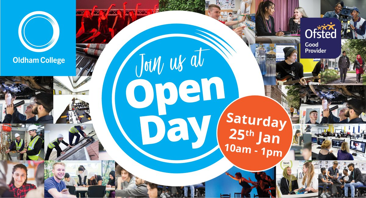 ONE WEEK TODAY #OCOPENDAY Its Open Day next Saturday, Jan 25th (10am-1pm) Take the next step to your #2020Vision and see why we're nominated for College of the Year at #tesFeawards Enjoy FREE taster sessions, tours and refreshments. Register NOW at: bit.ly/3adTYF9