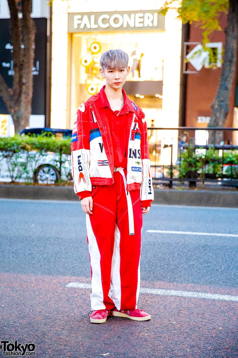 Uzivatel Tokyo Fashion Na Twitteru Japanese Musician Dancer Hikaru On The Street In Harajuku Wearing A Resale F1 Racing Outfit From San To Nibun No Ichi With An M Ms Plush Backpack And Vintage