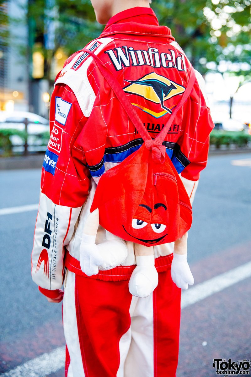 Tokyo Fashion On Twitter Japanese Musician Dancer Hikaru On The Street In Harajuku Wearing A Resale F1 Racing Outfit From San To Nibun No Ichi With An M Ms Plush Backpack And Vintage Converse
