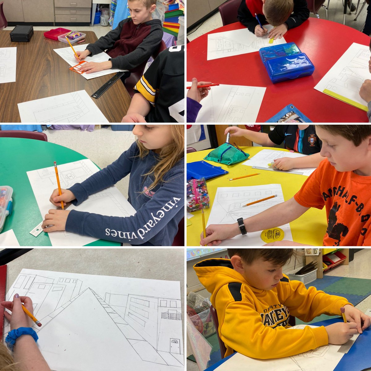 Even with short classes today, 4th graders working hard on 1pt perspective. #lovemyjob #buildingartists #nodaysoffpic.twitter.com/cBPNzra9BD