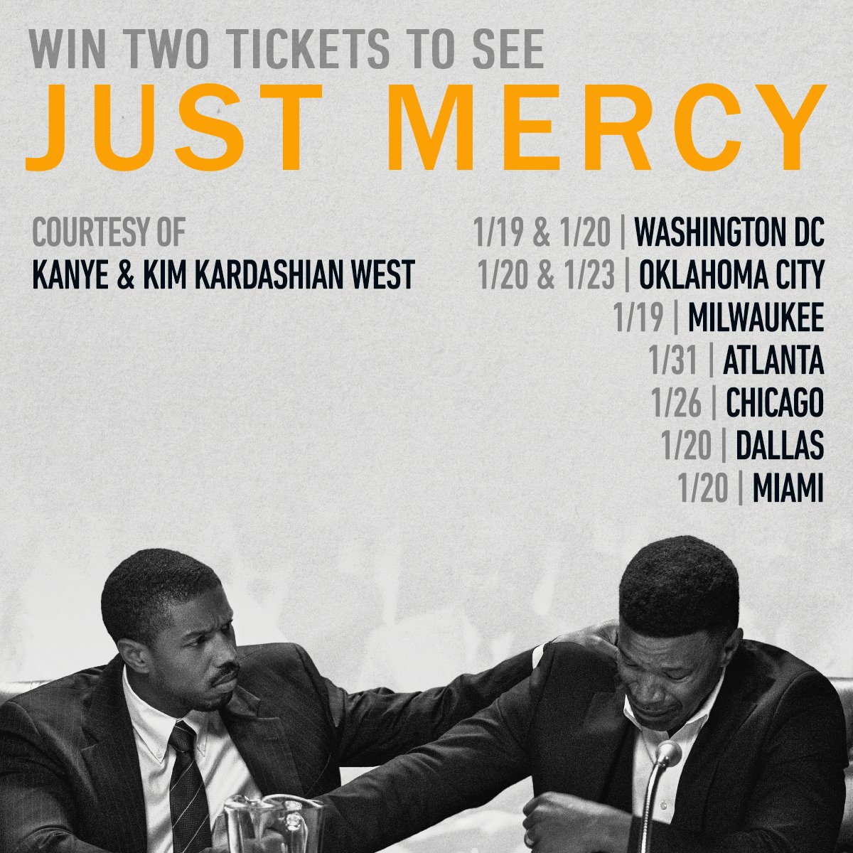 Thanks to @KanyeWest  and @KimKardashian  for buying out theaters in Atlanta, Chicago, Dallas, D.C., Miami and OKC! Want them to bring #JustMercy  to your city? You can still sign up here:  https://www.representjustice.org/kkw/