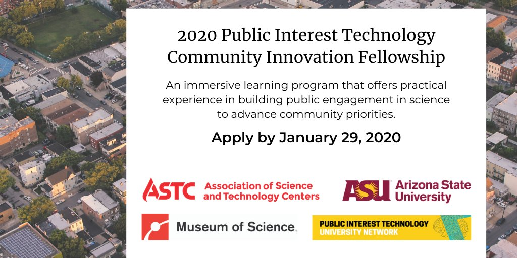 ASTC, @ASU, @museumofscience, and @ECAST_Network, have established PITCIF Fellowship, which will train science-engagement professionals to collaborate with local partners to engage public on technology issues that matter to their local communities. https://buff.ly/3alDZ8gpic.twitter.com/2tyHe0C4rz