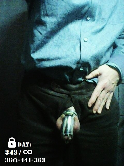 "MASTER wanted it to be a ""Cageual"" Friday. So the belt was replaced by a cage today (with urethral insert).  Day 343 of its permanent chastity... still no ejaculation / orgasm allowed...  #teamlocked #CasualFriday pic.twitter.com/wE8F4MoZdU"