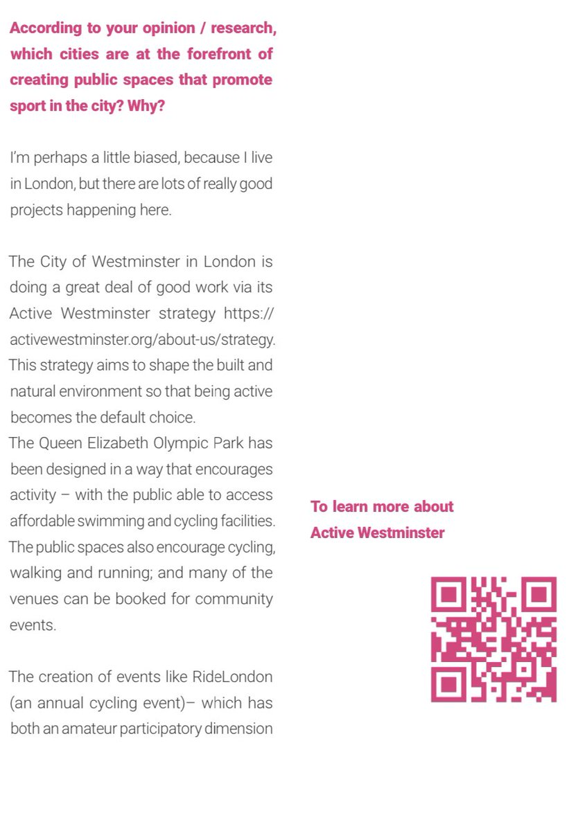 Great to see @CityWestminster's #ActiveWestminster strategy referenced as being at the 'forefront' by @AndrewSmithWest in @SmartCTandSport's - 'Urban Sports: New trends & future horizons in urban sports as a playing field being explored by sport cities' https://adobeindd.com/view/publications/b6cd7dd4-af72-4fe9-9108-e0366ec564f9/s4lo/publication-web-resources/pdf/Olympic_Cities_Publication_Urban_sport_01_EDIT_1.pdf …pic.twitter.com/YldoFsx32c