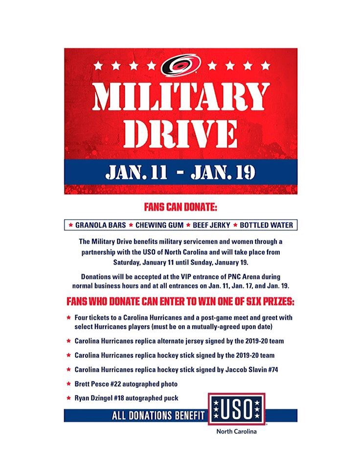 Please join us for our military drive this Sunday! The USO of NC and it's partners The @Canes will be accepting donations for our troops on game day. Top requested items include: protein bars, Gatorade, chips, candy bars, and baked goods. Come out & show your support ! #GoCanespic.twitter.com/nVFzE7awlq