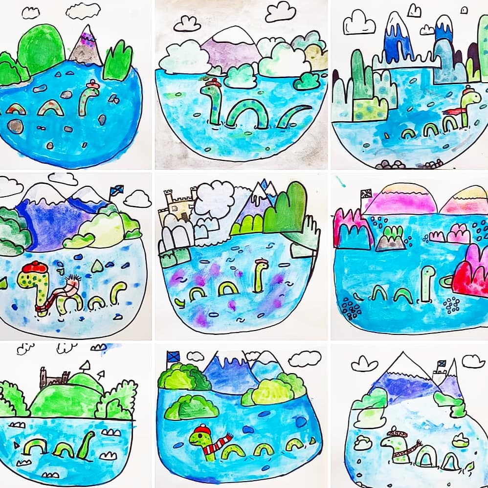 Scottish fortnight continues @KnightsridgePr1 ... 💙 Inspired by this delightful design by @ello_lovey P7 and P6 illustrated their own little Loch Ness scenes... 🐉 Each one tells a lovely story! 💙🐉💙🐉💙🐉💙🐉💙🐉💙🐉 @MrsMcLellanKPS @MrsAndersonKPS #art #PrimaryRocks #nessie