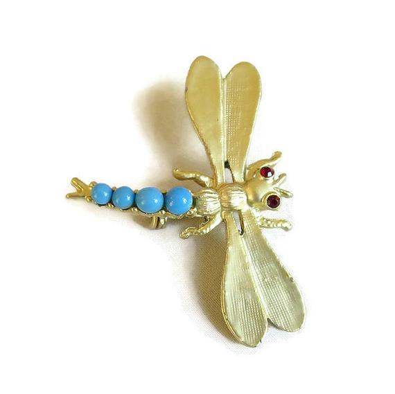 Matte Gold Tone & Blue Beads Body Dragonfly Brooch #Vintage #fashion #brooches #necklaces #sets #bracelets #earrings #jewelry