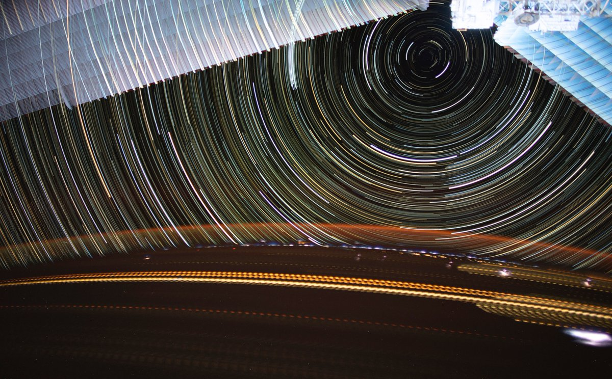 Star trails and solar array trails.