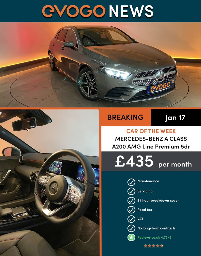 #caroftheweek - 'Classy, good to drive and packed with tech, the Mercedes-Benz A Class is a great premium-badged family car.' If you want to know more, please speak to our #evogo sales team on  0114 478 7430  info@evogo.co.uk  https://www.evogo.co.uk/cars/mercedes-benz/a-class…pic.twitter.com/qc06OrU0Ib