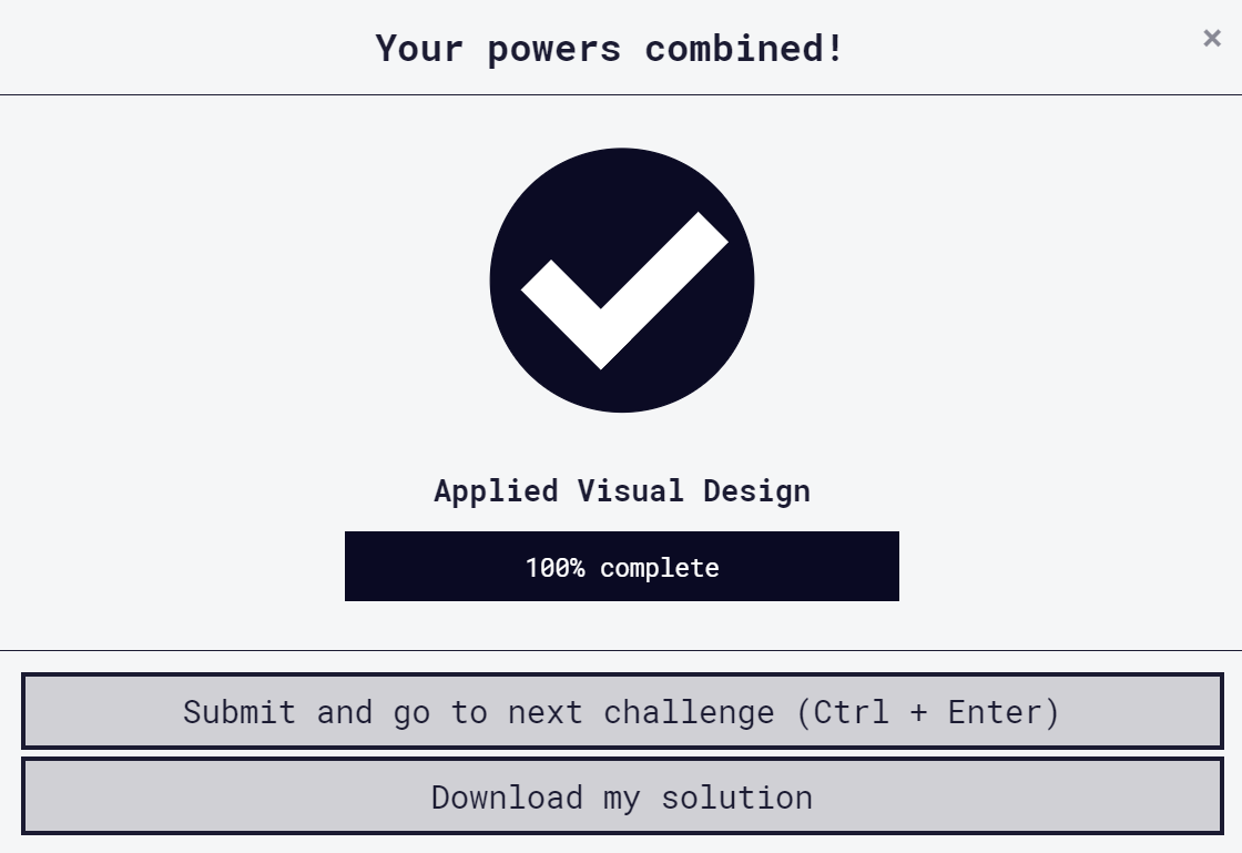 """Day 5 of #100DaysOfCode.   Completed Applied Visual Design from @freeCodeCamp of the """"Responsive Web Design"""" Course.  #webdevelopment <br>http://pic.twitter.com/6m7TXNXpOu"""