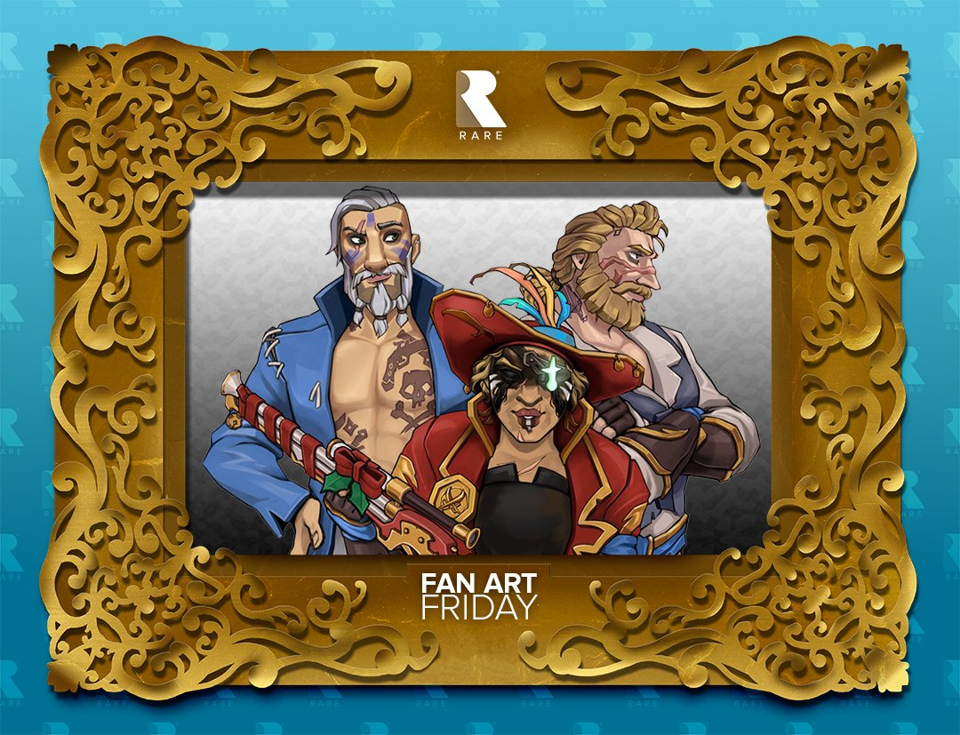 We're sailing into the weekend wishing we could be half as dapper as @laiafloreslledo's @SeaOfThieves crew. Just look at them in that #FanArtFriday frame! Tear your eyes away and leap to the gallery to find a cute Mothdrop and concerned Conker too: