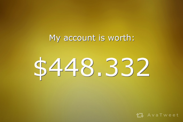 My Twitter account is worth $448.332 dollars. Check how much yours is worth at https://t.co/uQaMa2CyC3 #AvaTweet #TwitterWorth https://t.co/u6wUbpcscy