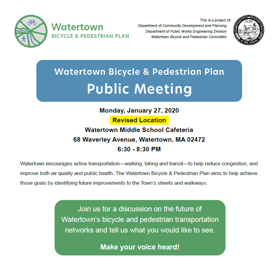 Join a discussion of the Watertown Pedestrian and Bicycle Plan on Mon., Jan. 27th from 6:30-8:30pm. Additional details below. https://t.co/26JqFN5FPh