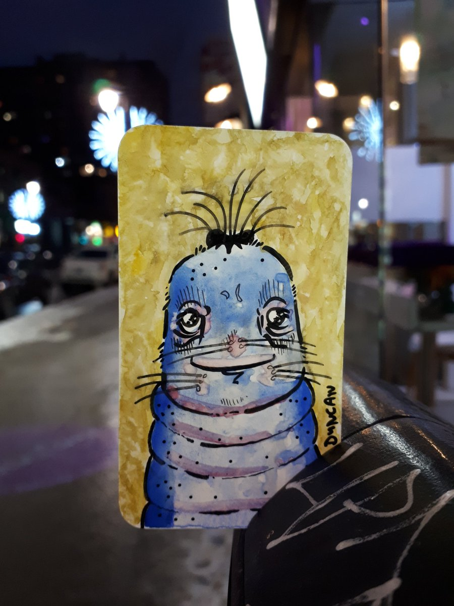 Left this little guy downtown Montreal.... he seems happy there! #leftart #doodle