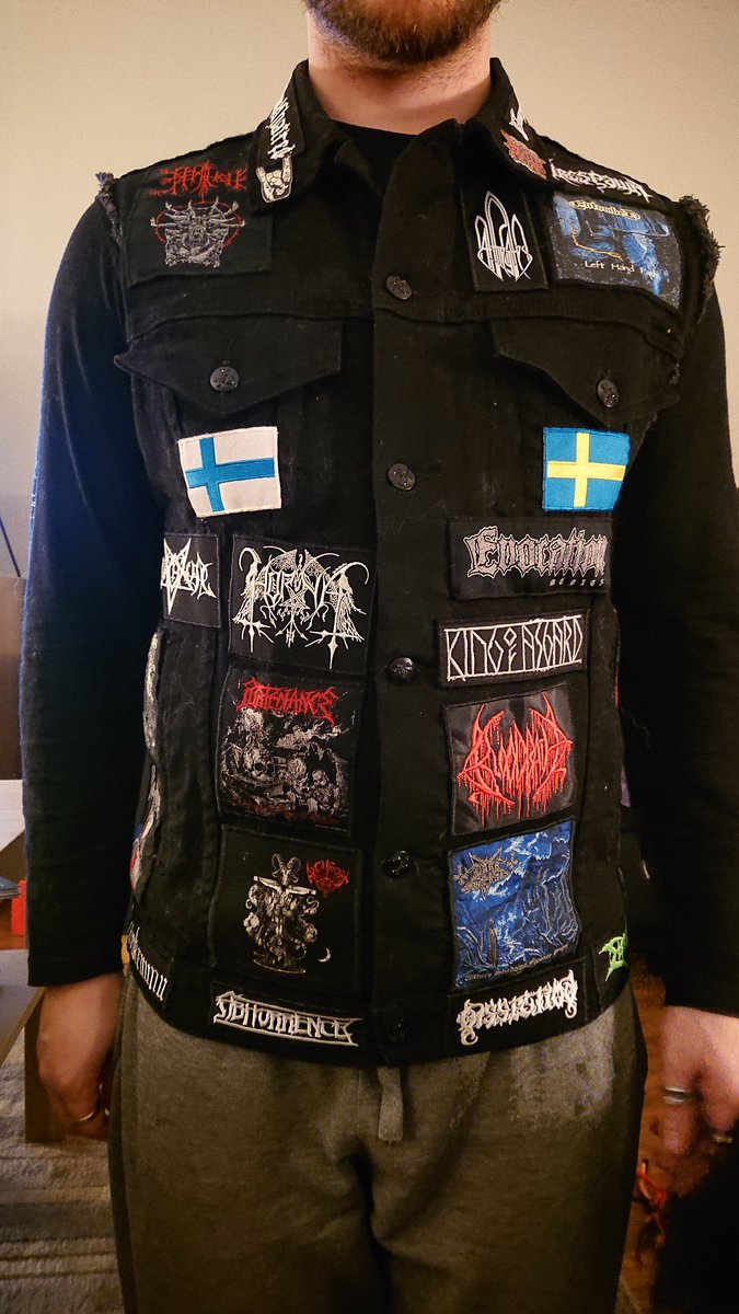 Been working on my Swedish/Finnish metal vest for about a year but today it is finally complete!  You guys got any vests? Maybe even a theme going when creating one? #battlevest #metalhead #blackmetal #deathmetalpic.twitter.com/eCuc4oAyQr