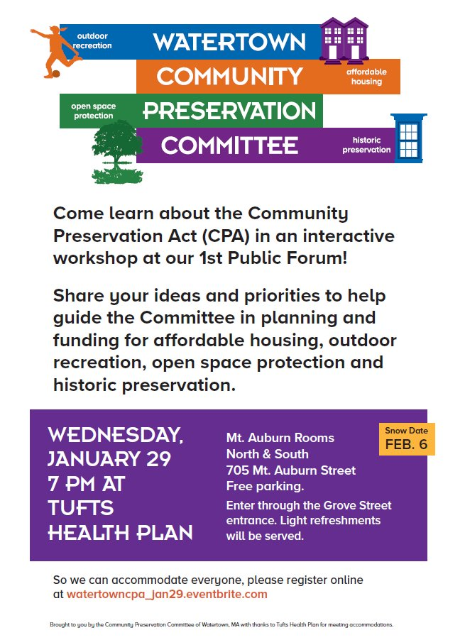 On 1/29, Watertown hosts a public forum on the Community Preservation Act and opportunities for investment in affordable housing, outdoor recreation, open space preservation, and historic preservation in the community. RSVP here: https://t.co/dCPdJ1Vp3w https://t.co/vE9QgxFXTK