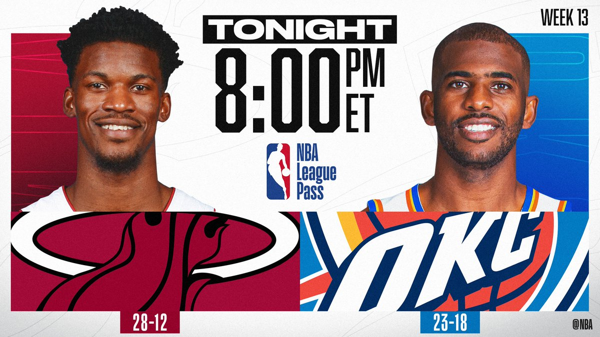 TONIGHT on NBA League Pass at 8pm/et, @JimmyButler and the #2 in the East @MiamiHEAT visit @CP3 and the #7 in the West @okcthunder.   📱💻: https://nba.app.link/NBA_League_Pass