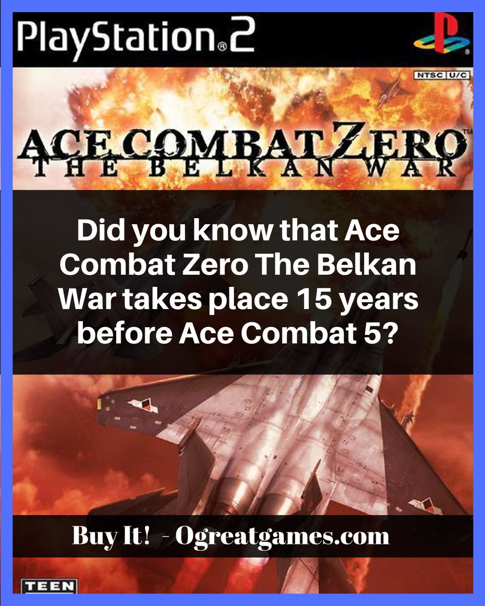 Did you know that Ace Combat Zero The Belkan War takes place 15 years before Ace Combat 5? https://ogreatgames.com/products/ace-combat-zero-the-belkan-war… #adventure #knowledge #dyk #videogames #history