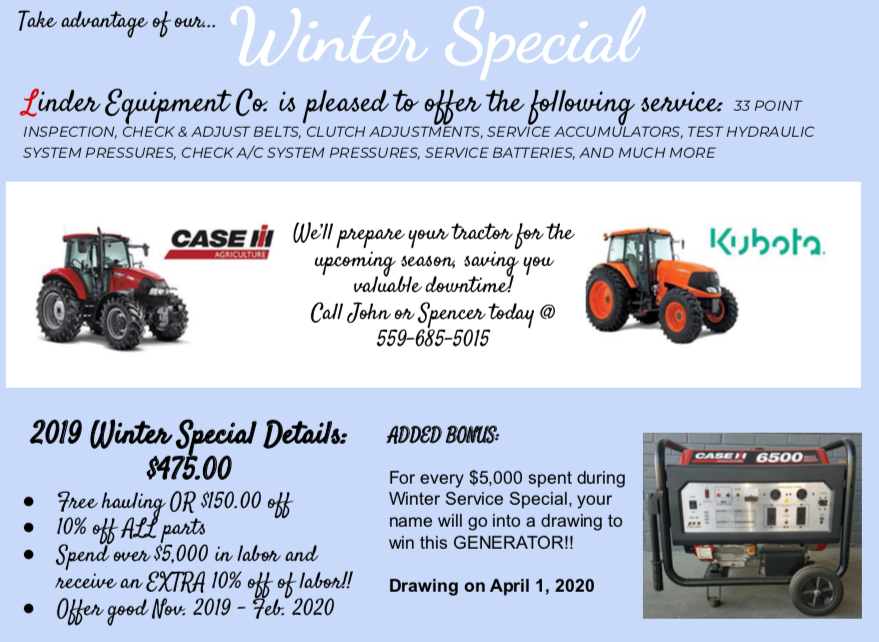 Making sure your farm equipment is in great condition is something that should be done on a regular basis and we have just the pros to help you! Take advantage of our #winterspecial and trust our mechanics to handle all of your maintenance needs!  http://www. linderequipment.com     <br>http://pic.twitter.com/fDYV4hMYSl