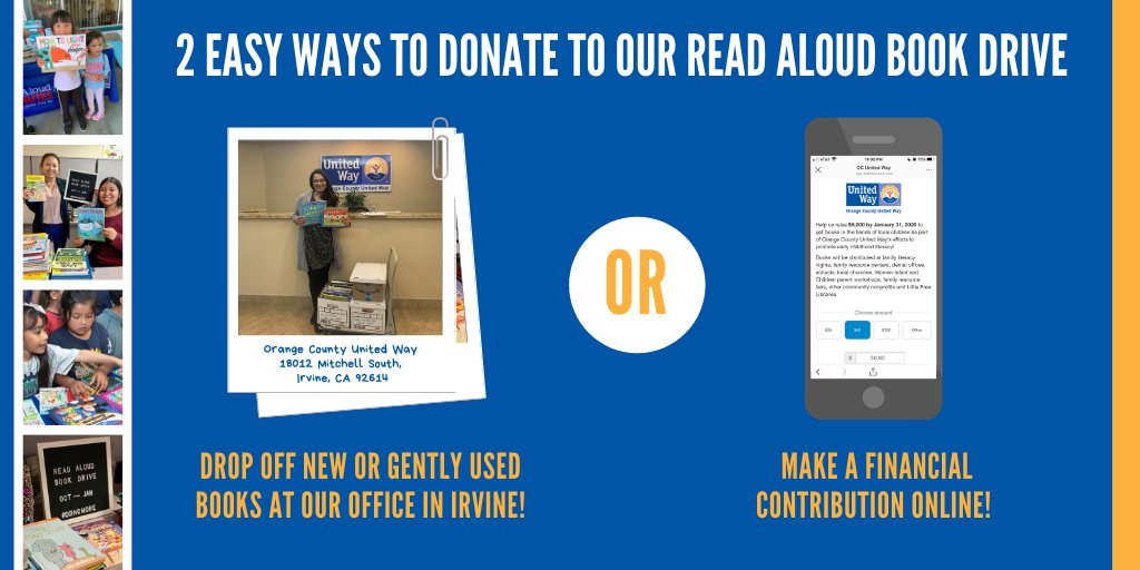 #BookDrive: Help local students  learn how to read with a book donation or financial contribution to our 4th Annual Read Aloud Book Drive. #DoingMore4OC  Donate today: https://bit.ocuw.org/2oTJB6M.pic.twitter.com/8Toj84e42q