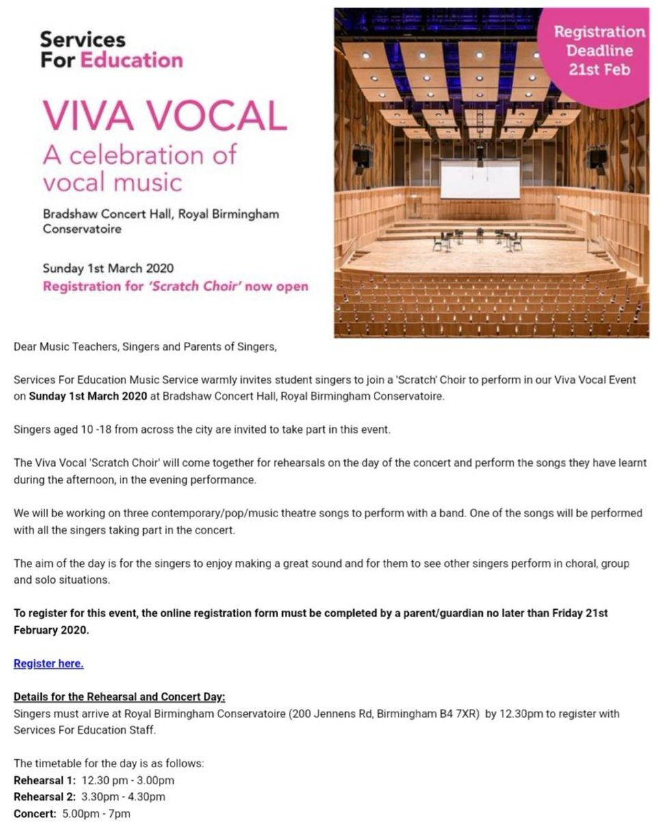 Great opportunity for budding LBS singers to sing in a 'Scratch choir' and perform at the Birmingham Conservatoire! @SEF_Tweets #music #artseducationpic.twitter.com/BDShssE3mh