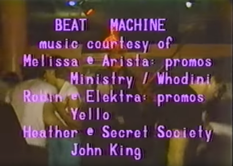 The club is The Danceteria. I think 'Beat Machine' was the name they used for their music segments. I wonder if the 'Heather @ Secret Society' & 'John King' are clues? Someone mentioned it was connected to the show's musical director & Secret Society is credited with the soundpic.twitter.com/N8QjfobiPy