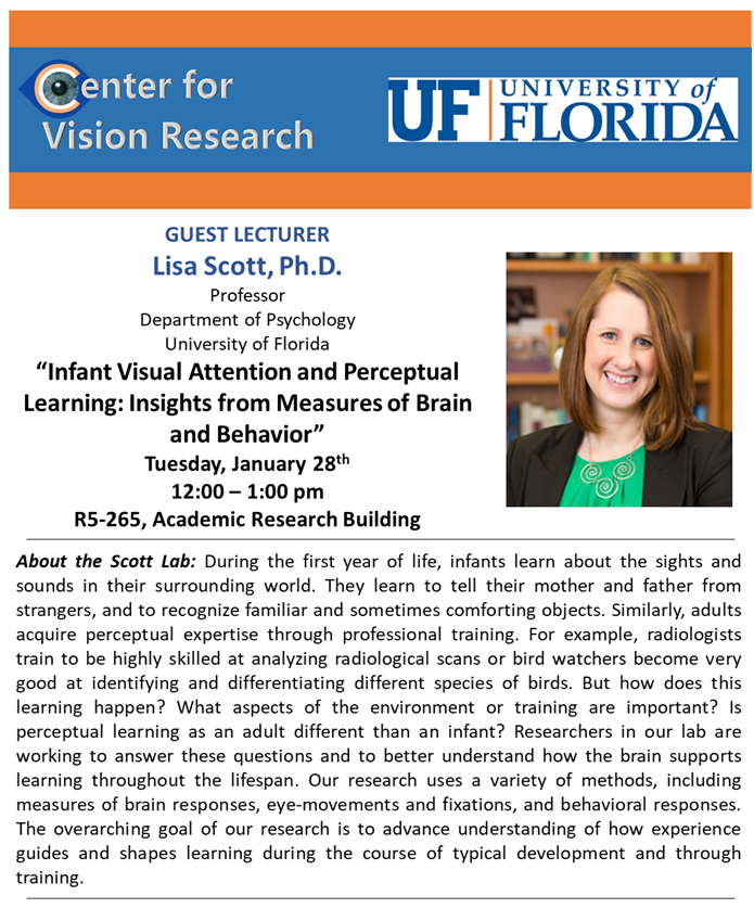 Mark your calendars for the next Center for Vision Research seminar on 1-28-20 at noon.