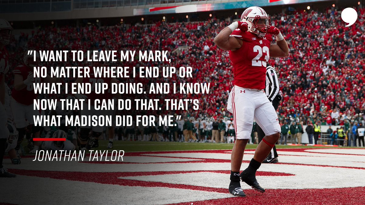 Born in New Jersey, made in Wisconsin. On his way to the NFL, @JayT23 has a message for Badger Nation. 📝: playerstribu.ne/JonathanTaylor