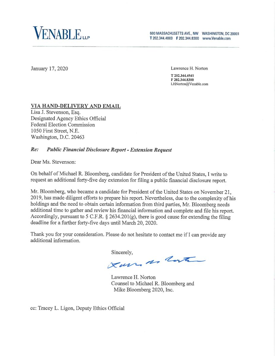 The FEC has granted a second extension — this time until March 20 — for Mike Bloomberg to file his personal financial disclosure