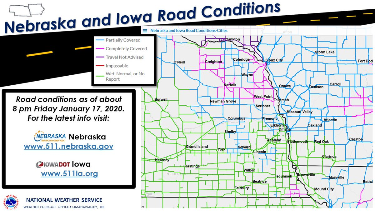Image posted in Tweet made by Omaha Hwy Conditions on January 18, 2020, 2:21 am UTC