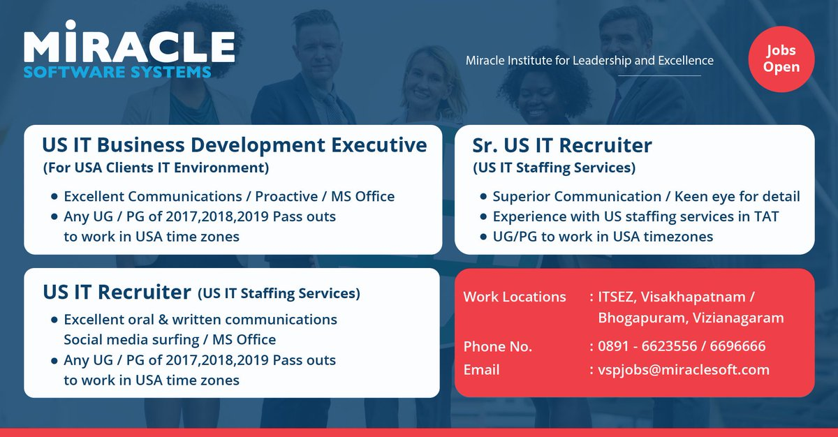 Are you a people's person who like to talk and help? These positions might be what you are looking for. Please send resumes our way to vspjobs@miraclesoft.com #careeropportunities #jobseekers pic.twitter.com/rDl924jquB