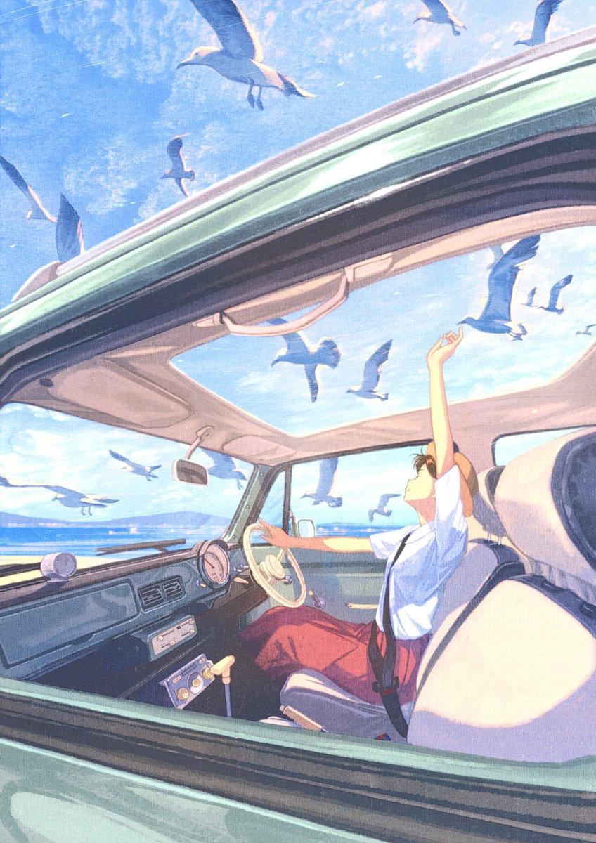 愛車のイラスト描きました!寒い日に暖かいイラストです。海にドライブ行きたーい!「鳥のように君と」