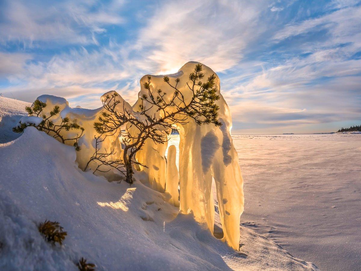 under the weight of ice ..           by Fedor Lashkov. #Ladoga #lake #sunrise #landscapesRussia #HappyWeekend <br>http://pic.twitter.com/hLK6aRDzCk